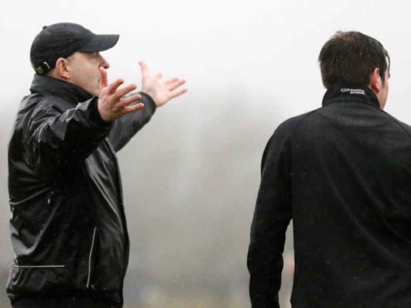 Lavey manager Seamus Downey appeals a decision during Sunday's final