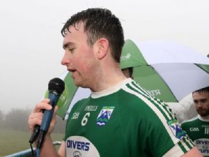 Gaoth Dobhair captain, Niall Friel addresses the crowd after receiving the Bank of Ireland-Paddy McLarnon Cup on Sunday at Creggan.