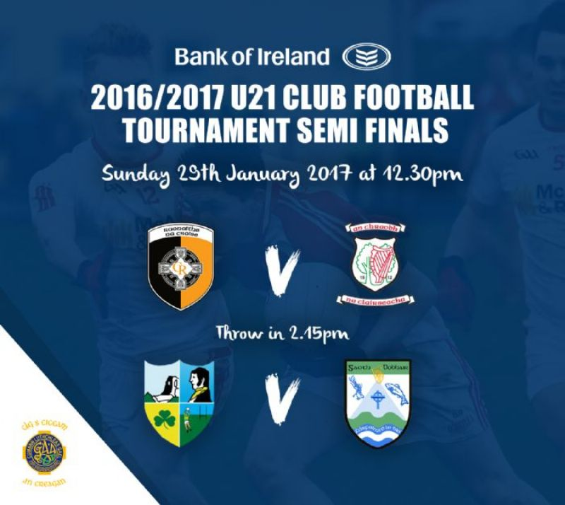 Ulster U21 Club Football Tournament Semi Finals - 29th January 2017